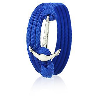 Skipper anker armbånd armbånd i blå Nylon med sølv anker 6580