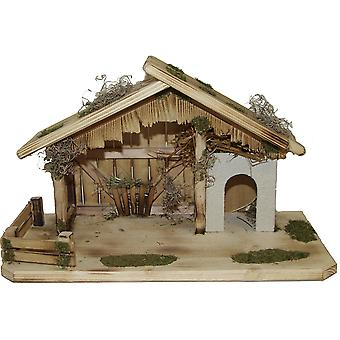 Crib Nativity scene wood Nativity stable RAFAEL hand work for characters up to 10 cm