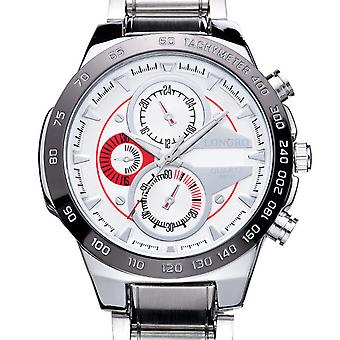 Mens Watch White Silver Red Boys Smart Analogue Watches Business Gift Present