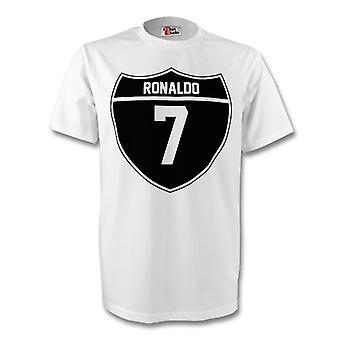 Cristiano Ronaldo Real Madrid Crest Tee (white) - Kids