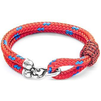 Anchor and Crew Great Yarmouth Silver and Rope Bracelet - Red