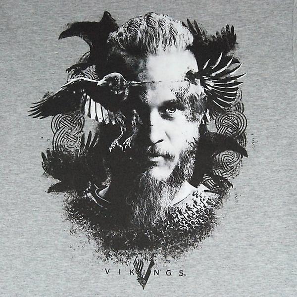 Corbeau T Shirt gris Vikings Mens Vikings TV série Odin chiné