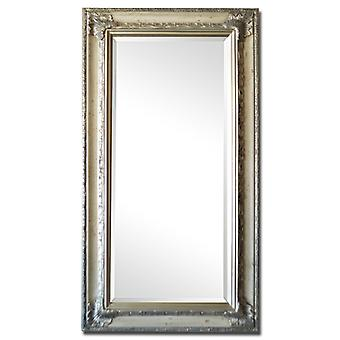 Mirror in silver, outer dimensions 59x109 cm