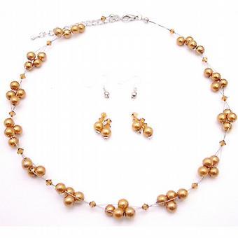 Znaleźć na wesele studniówkę kryształ naszyjnik zestaw miedzi złote perły kryształy miedzi Biżuteria Set