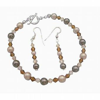 Для новобрачных Bridemaides браслет серьги Alll подлинной Swarovski жемчужина кристалл пользовательские ювелирные изделия ручной работы