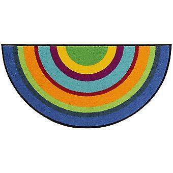 Salonloewe paillasson Varberg multicolore demi-rond 50 x 100 cm lavable tapis de saleté