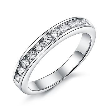 925 Sterling Silver Brilliant Queen Half Eternity Band Ring