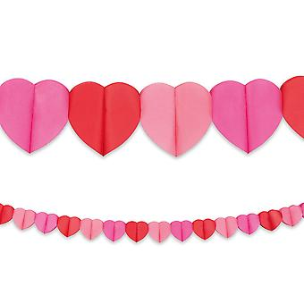 4m Long Paper Love Hearts Bunting Garland Valentine's Day Decoration