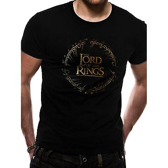Men's The Lord of the Rings Gold Logo Black T-Shirt