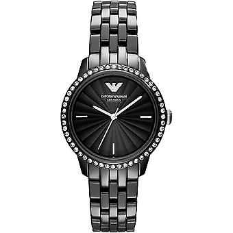 Emporio Armani Ar1478 Black Ceramic Crystal Ladies Watch