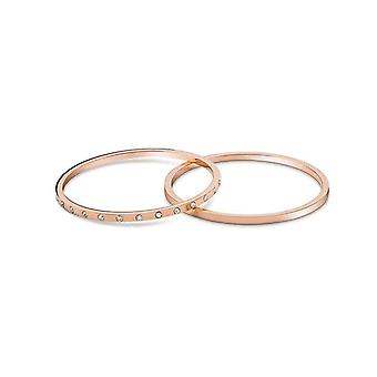 Stackable Hoop Bangles Bracelet, Set of 2, Stainless Steel