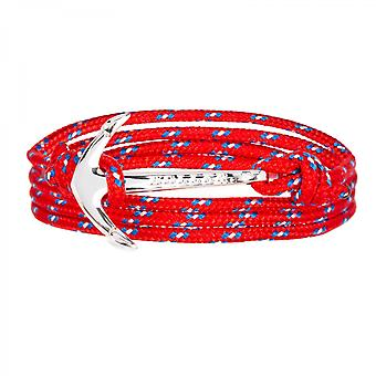 Holler Mosley  Silver Polished Anchor / Red, Blue and White Paracord Bracelet HLB-02SRP-P02