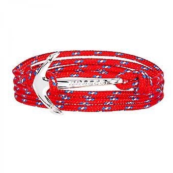 Holler Mosley silver polerad ankare/röd, blå och vit paracord arm band HLB-02SRP-P02