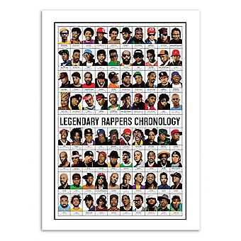 Kunst-poster 50 x 70 cm-legendarische rappers chronologie-Olivier Bourdereau