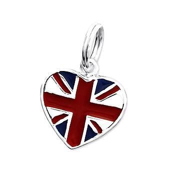 Sterling Silver Union Jack Love Heart Charm