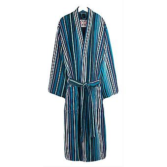 Bown of London St David Stripe Dressing Gown - Turquoise/Blue/White