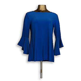 Women with Control Women's Top Flounce Sleeve Blue A301383