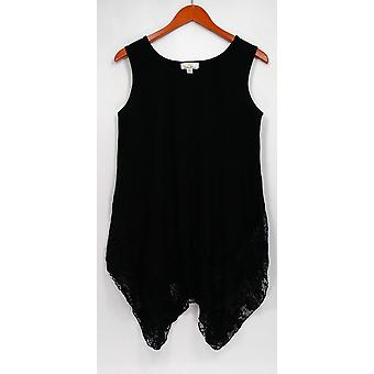 Kathleen Kirkwood Top Handkerchief Hem Tank Top Black A296316