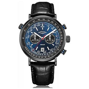 Rotary | Men's Henley Chronograph | Blue Dial | Black Leather Strap GS05238/05 Watch