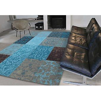 Vintage 8105 - Turquoise Shades of blue and turquoise Rectangle Rugs Modern Rugs
