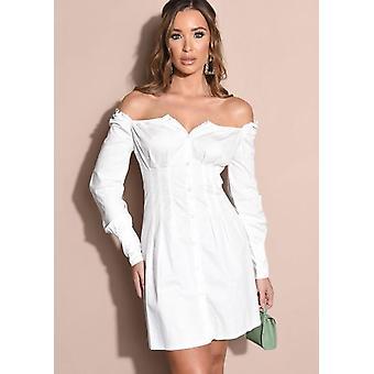 Button Through Square Neck Shirt Mini Dress White