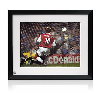 Dennis Bergkamp Signed Arsenal Photo: The Leicester Hat Trick. Framed