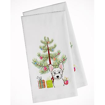 Christmas Tree and Westie White Kitchen Towel Set of 2