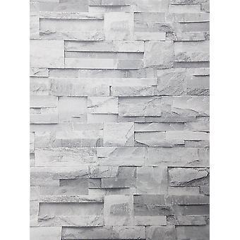 3D Slate Stone Brick Effect Wallpaper Grey Rock Realistic Textured Vintage