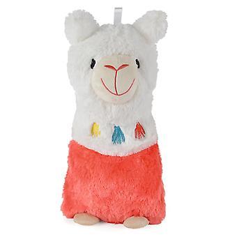 Lama ontwerp fleece gedekt natuurlijke rubber warm water fles 750ml roze