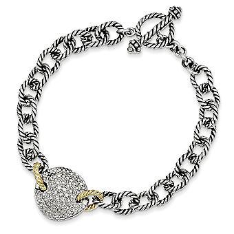 925 sterlinghopea kiillotettu piikki asettaa toggle sulkeminen loppuun 14k keltainen .035ct. timantti 7,5 tuuman linkki rannekoru jewel
