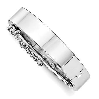 10mm 925 Sterling Silver Just Like Mommy Pol. With Safety Hinged for boys or girls Cuff Stackable Bangle Bracelet