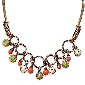 Fancy Lobster Closure Copper tone Green and Ivory Enamel Orange Beads 16inch With Ext Necklace Jewelry Gifts for Women