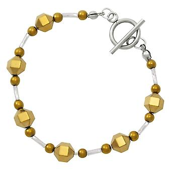 Eternal Collection Imagination Silver And Gold Hematite Beaded Bracelet