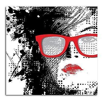 Painel do deco, mulher nos vidros