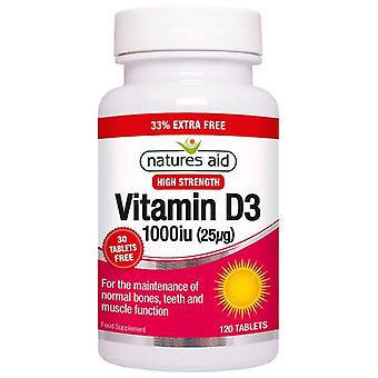 Naturaleza's Ayuda Vitamina D3 1000iu (25ug) Tabletas 120 (129335)