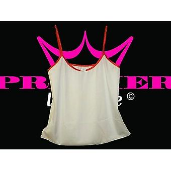 Premier Lingerie White Lycra Cami Top with Red Trim (ss6)