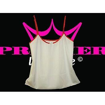 Premier lingerie witte Lycra Cami top met rode Trim (ss6)