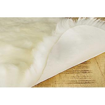 2' x 3'  Natural New Zealand Sheepskin Wool Area Rug in White