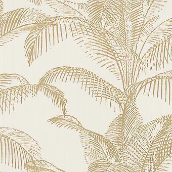 Pandore Palm Leaves Wallpaper White / Gold Rasch 406818