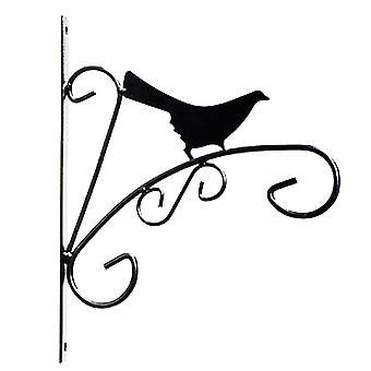"Kingfisher HBBANI 8.5"" (21.5cm) Novelty Bird Design Black Metal Hanging Planter Basket Wall Bracket"