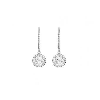 Eternity 9ct White Gold Cubic Zirconia Hook And Round Drop Earrings