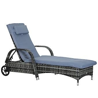 Outsunny Garden Rattan Furniture Single Sun Lounger Recliner Bed Reclining Chair Patio Outdoor Wicker Weave Adjustable Headrest with Fire Retardant Cushion - Grey