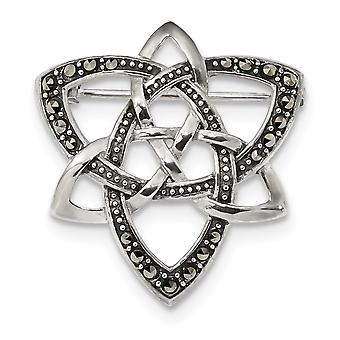 30mm 925 Sterling Silver Marcasite Celtic Knot Pin Jewelry Gifts for Women