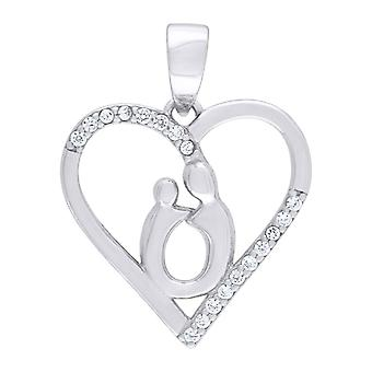 925 Sterling Silver CZ Cubic Zirconia Simulated Diamond Mother Child Love Heart 2.06gm Womens Charm Pendant Necklace