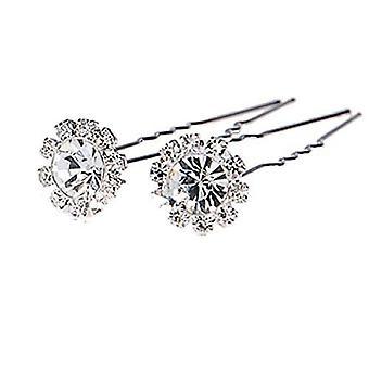 10pcs Crystal Rhinestones Diamante Hair Pins Flower Design 1069