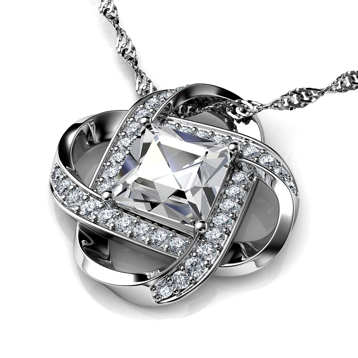 Love necklace white cubic zirconia crystal pendant silver by dephini