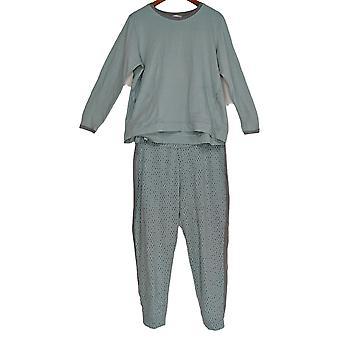 Stan Herman Women's Pajama Set French Terry Tunic & Jogger Green A301848