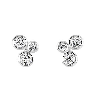 Dew Sterling Silver Scattered Round Cubic Zirconia Stud Earrings 38427CZ