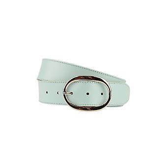 Lyx Ljusblå dambälte med ovalspänne