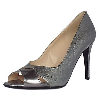 Peter Kaiser Alda Women's High Heel Peep Toe Shoes In Steel Mix